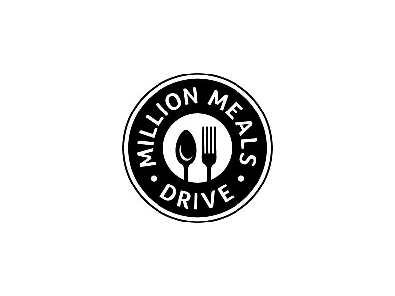 Million Meals Drive black and white food drive non-profit logo mark circle