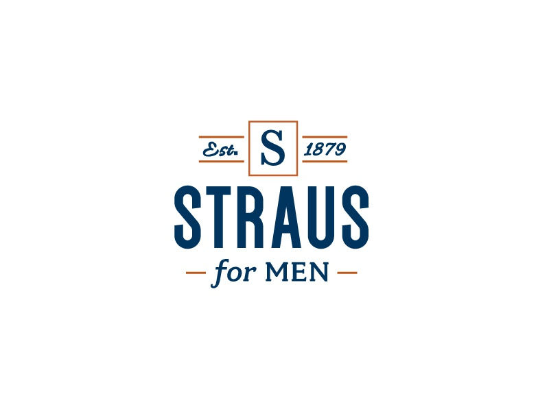 Straus for Men Logo hipster modern retail logo fashion tailor suit