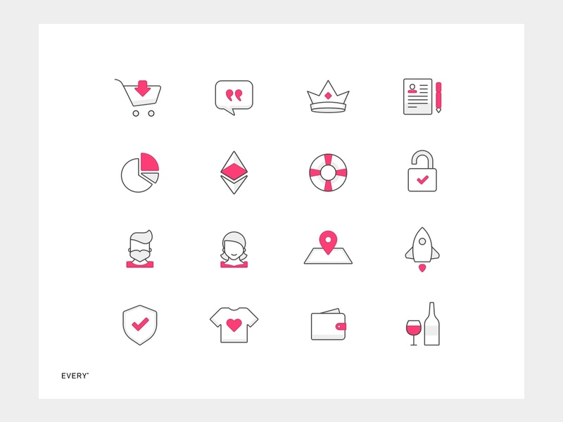 Every • Icons gray arrow t-shirt shield wine map chart etherium rocket lock cart crown iconset icon pink