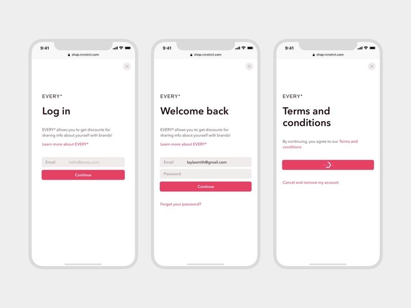 Every • Awards (Login screens) process link logo header gray pink login loading button web application web app app iphone mobile