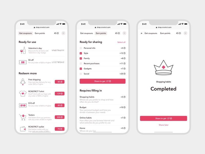 Every • Awards (Mobile) gray white pink close points navigation icon discount coupon poll button crown web app iphone mobile