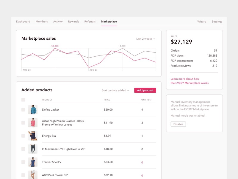 Every • Marketplace navigation product app button marketplace chart gray white pink shopify