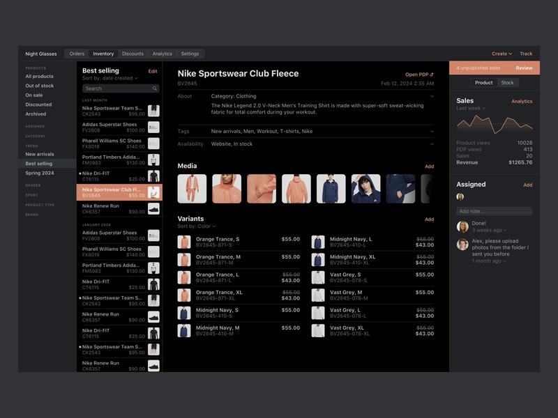 FoxCommerce • Product (dark mode) navigaion list graph stats details product dashboard ui black dark orange peach dark mode