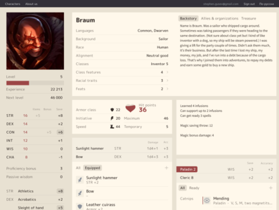 D&D Character Sheet character sheet stats skills story fantasy experience dungeons and dragons dnd heart icon set