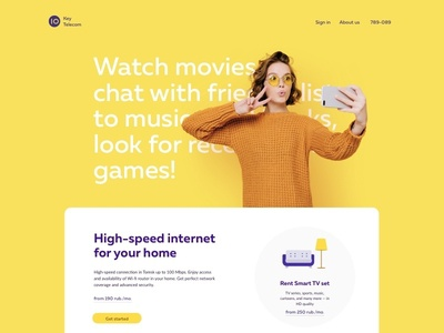Key Telecom • For Home branding clean menu illustration logo button yellow header website ui