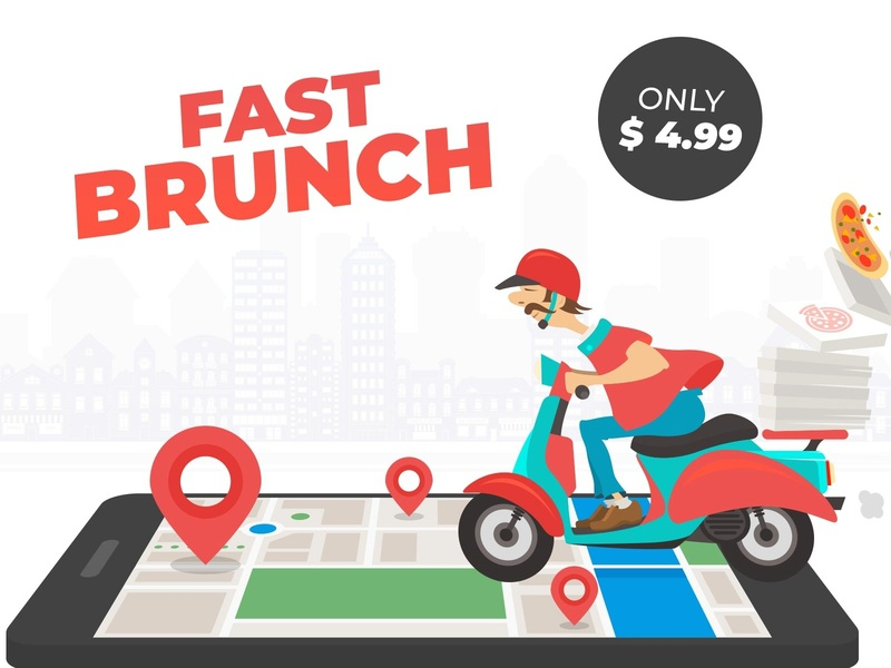 Food delivery food app mobile scooter character food service fast delivery food