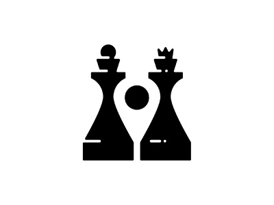 Chess point logo marker point pin king queen chess negative space logo negative-space negative space negativespace