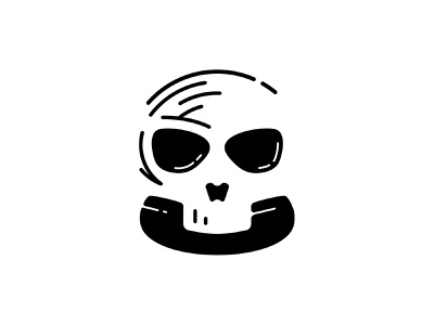 Number can not be reached branding negativespace negative-space negative space logo logo logotype logo design negative space phone skull logo skull art skull bone