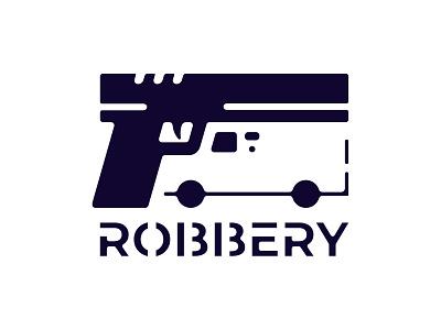 Robbery Logo negative space logo negativespace negative space logodaily logotype logo robbery van collector gun