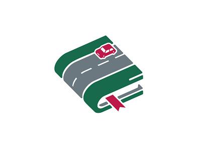 Driving School logo doublemeaning creative book automotive auto car emblem vector branding logos illustration design logodesign logo design logotype logo driving school
