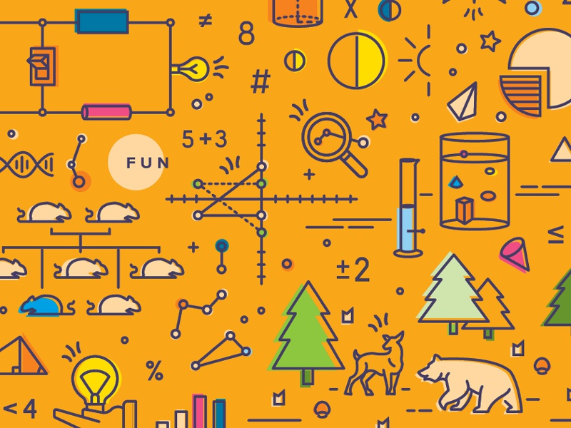 Science and Math math science icon illustration line drawings