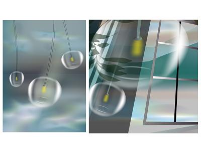 фонари depression wind plant storm sky clouds psychologists lights furniture interior design light vector illustration
