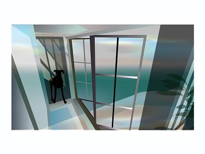 собака windows doors mood nature sky sea dog building house architecture interior realistic design vector illustration