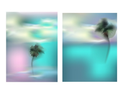 vector palma digital beautiful clouds summer sky ocean sea palm tree design realistic neon light neon light vector illustration