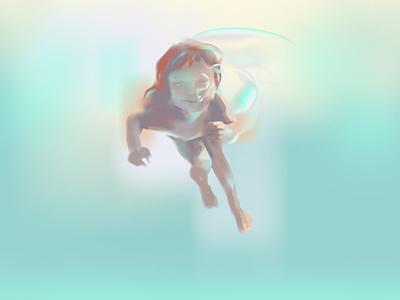 Gala sun sky fun sail fables under water baby sea summer child realistic light vector illustration