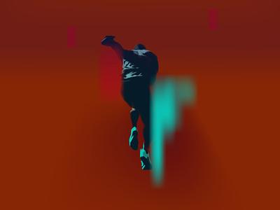begun shoes start speed athlete sneakers sport runner logo branding realistic neon light neon light vector illustration