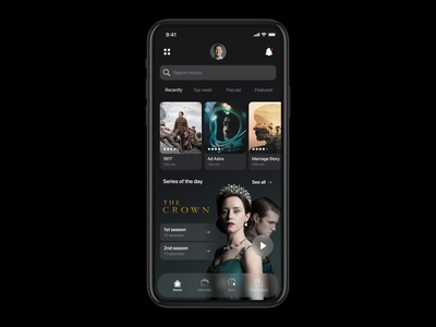 Voice Browser - Streaming App netguru streaming voice search voice voice control artificial intelligence swipe interaction netflix movie animation cards chatbot search browser voice assistant app ux ui product design