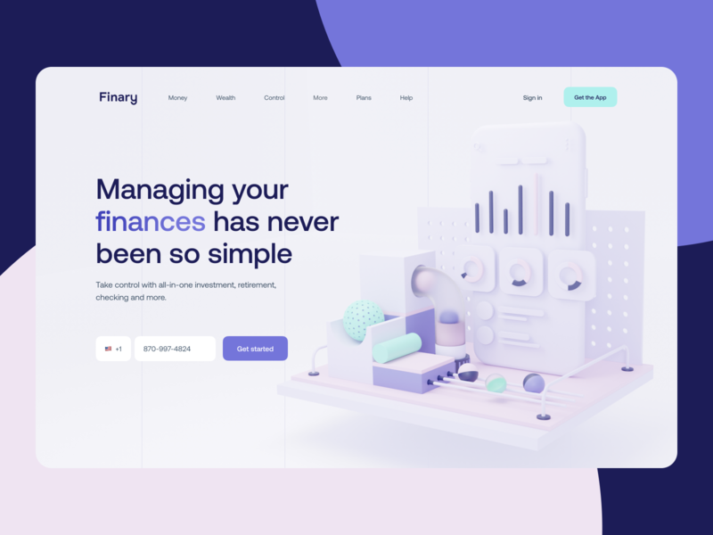 Finery Fintech App Landing Page finance analytics ios charts website application credit card hero image product design financial bank app banking app banking fintech finances ui landing page app design app 3d netguru