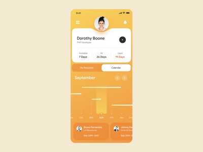 Leave Management App expanded tracking time schedule system crm employee manager management hr toast message motion mobile calendar swipe interaction product design netguru app design animation