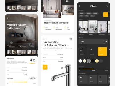 Home Inspiration App - Details preview ux ui swipe slider photos mobile inspirations ideas home tags gallery list product filters details cards bathroom app 7ninjas