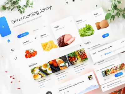 Chatting Fridge - Home Screen cards voice commands voice chat voice recipes kitchen meal fridge cooking app cook tabs concept audio assistant ai 7ninjas