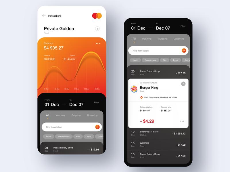 MasterCard Concept App payments statistics chart bank account bank card bank app fintech finance app listing details transactions credit card banking money app 7ninjas
