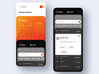 MasterCard Concept App payments statistics chart bank account bank card bank app fintech finance app listing details transactions credit card banking money app 7ninjas