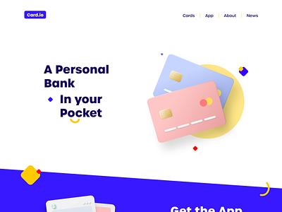 Cards web concept credit card app finance bank card adobe xd 3d effect interface ui illustration website modern 3d