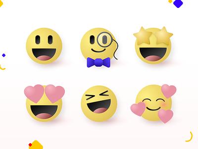 Emoji exploration lovely adorable illustration 3d effect 3d reactions react emoticon emotion bright cute emoji