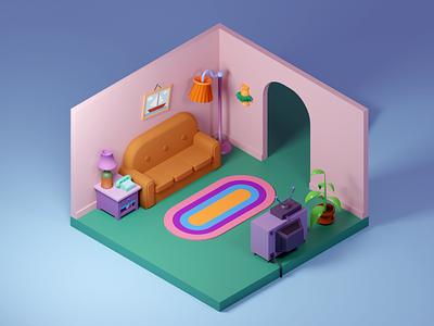 Simpsons living room blender 3d cartoon sofa isometric blender living room simpsons illustration 3d