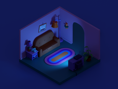 Simpsons living room - night blender 3d blender isometric television tv dark night living room simpsons illustration 3d