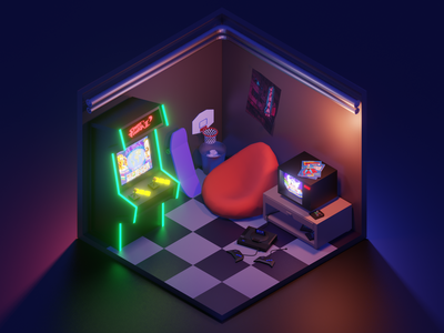 Gaming room retro teenager cyber neon 90s 80s blender basketball cave gaming videogame illustration 3d sega console arcade