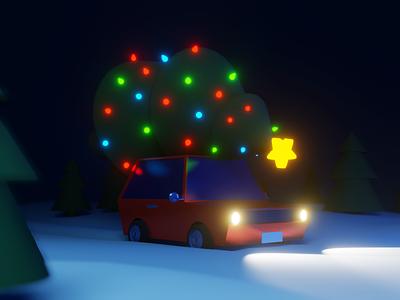 Driving home for Christmas 🎄 xmas snow winter hatchback low poly cartoon car lights christmas tree christmas blender illustraion 3d