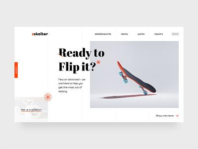 Skate shop concept concept modern clean webdesign website render skate blender 3d