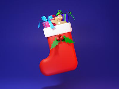 Christmas stocking mistletoe gingerbread man gingerbread xmas christmas gift stocking sock blender illustration 3d