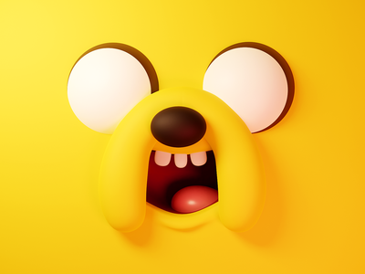 Jake - Adventure time 3d illustraion blender adventure time dog jake jake the dog face cartoon smile happy emotion