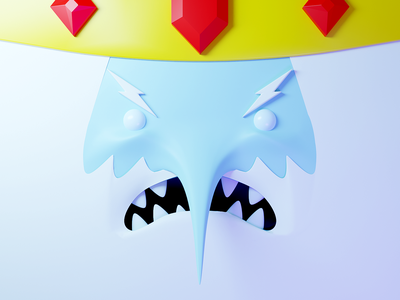 Ice King - Adventure time face crown cold angry villain king ice adventure time ice king cartoon blender illustration 3d
