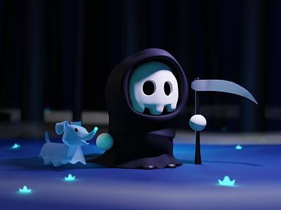 Reaper & Doggy forest best friend ghost puppy dog scythe reaper skull cartoon illustration blender 3d