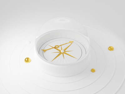 Directionless uncomfortable dome galss broken lost direction compass gold white clean modern blender illustration 3d
