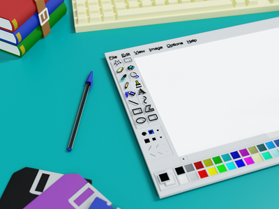 Microsoft Paint classic nostalgia pc tabletop desktop oldschool 3d icons interface tools windows 95 98 software ms paint microsoft paint classic modern blender illustration 3d