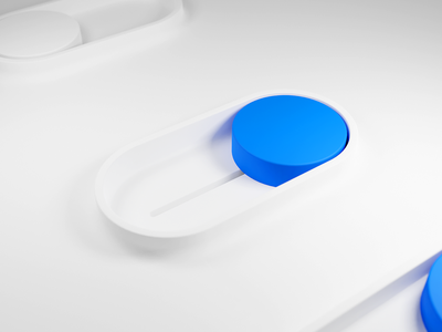 3D Toggle button settings modern blender slide physical neumorphism white ui active button toggle designsystem interface illustration 3d