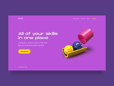 Civi website adobe dimension landing dimension 3d webdesign website cv