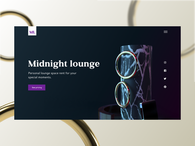 Midnight lounge website website landing marbel ring rent party luxury club lounge adobe dimension adobe xd dimensions 3d