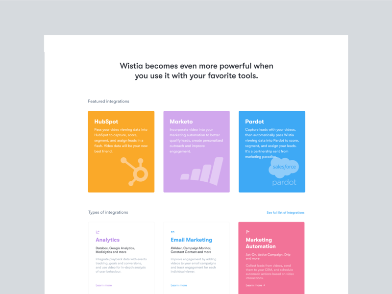 Integrations page wistia layout integrations