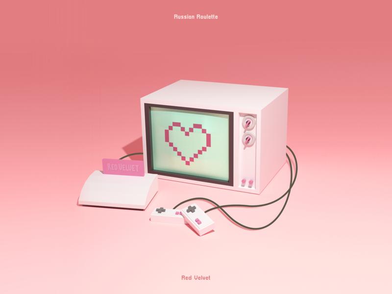 Red Velvet - Russion Roulette 3D Album Cover minimal retro album cover album art kpop redvelvet blender3d modeling blender 3d art 3dart 3d