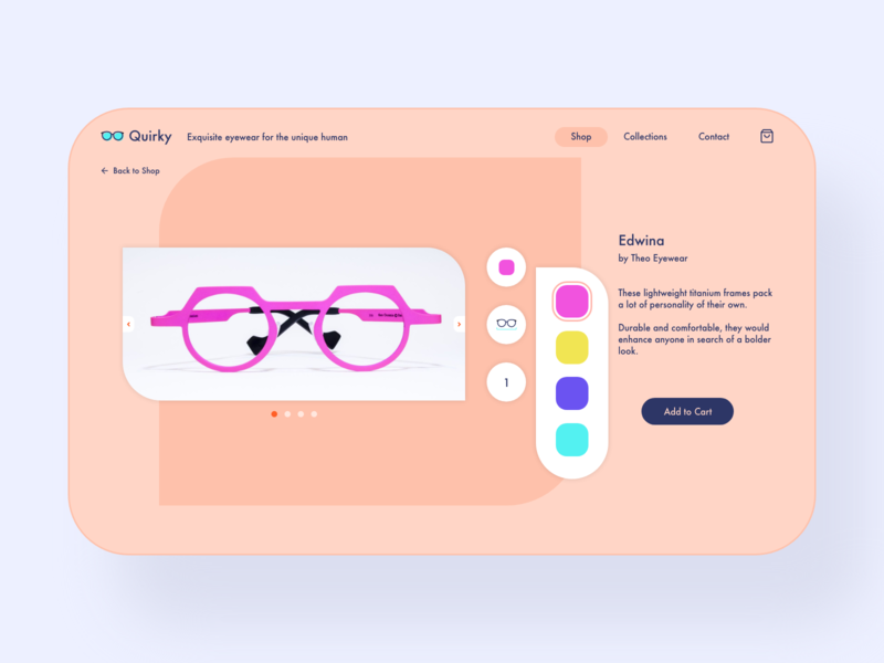 Daily UI. 012 - E-Commerce Shop eyewear branding glasses ecommerce design ux ui adobexd user interface design user interface dailyui concept