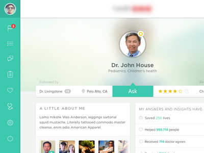 Doctor Profile user profile doctor flat green frost ios7 blur flat ui medical caduceus web app
