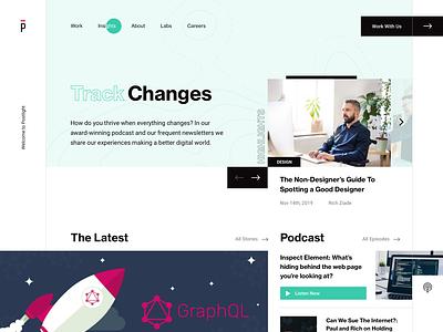 Track Changes teal blog ui webdesign