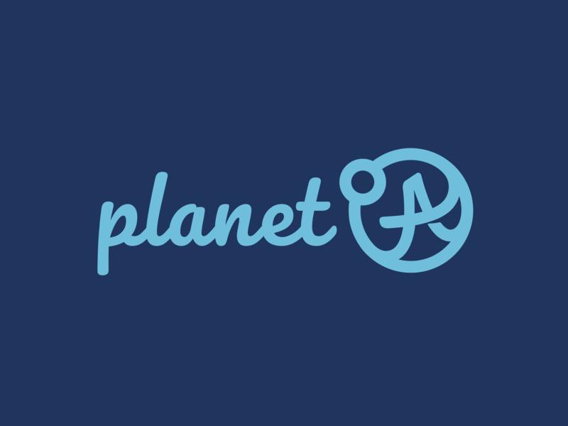 PLANET A LOGO planet earth planetary planets planet application typography a logo planet a logo blue logotype design vector simple branding brand logo