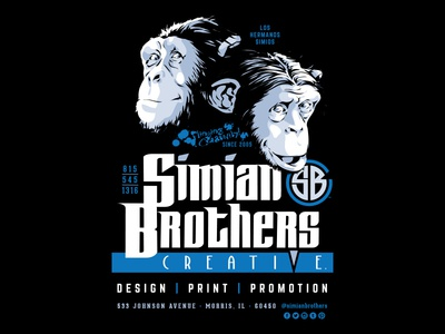 Simian Brothers Black Poster